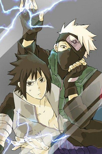 Kakashi and Sasuke Uchiha trapped behind glass. Smartphone wallpaper.