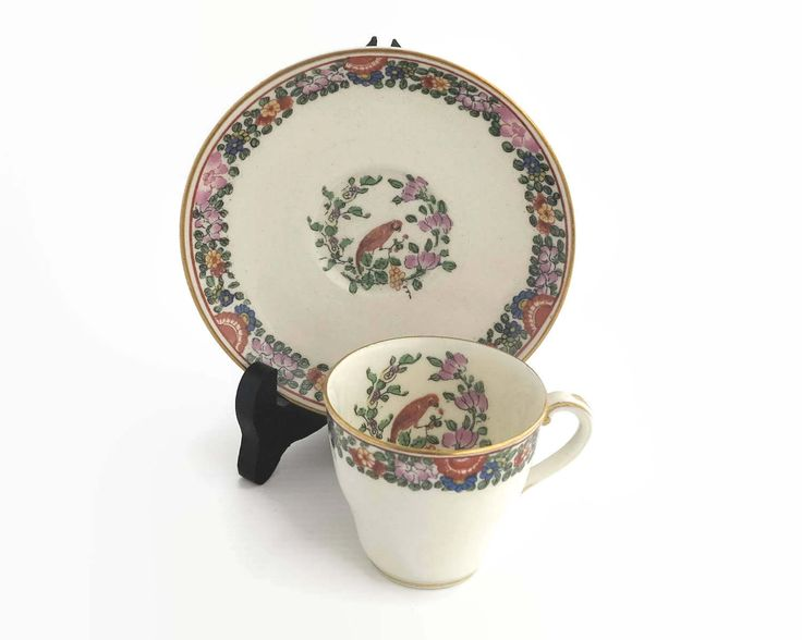 Royal Worcester demitasse cup and saucer with Old Worcester Parrot pattern, parrot and flowers, parrot inside cup, England, 1925 by CardCurios on Etsy
