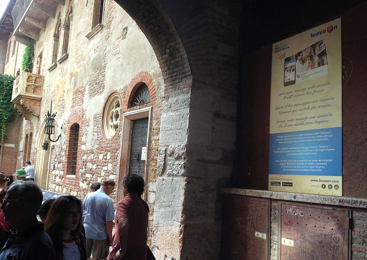 "LeaveOn is now used by the tourists at Juliet House in Verona ITALY to leave ""Love Messages"""
