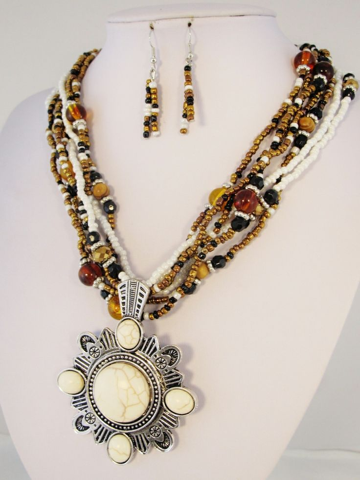 Seed Bead Necklace with Stone Pendant - $19.95