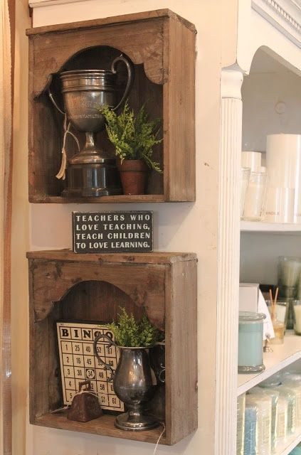 DIY shadow box???  Drawers upcycled as shelves – but what I REALLY wanted to note are the little upper pieces put in to make little arches – that really finishes them off and would be a nice addition to crate shelves, box shelves, or whatever  ************************************************ 52Flea –