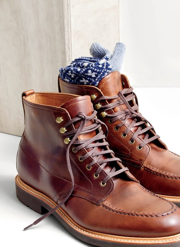 J.Crew men's Kenton leather pacer boots and diamond cross mountain socks.