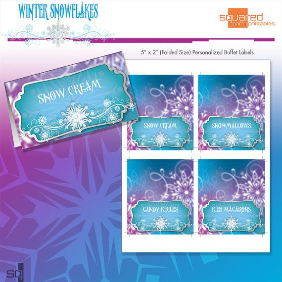 Please enjoy our Winter Snowflakes DIY Printable Birthday Party Collection tent cards. Lots of gorgeous details on this one. These would look