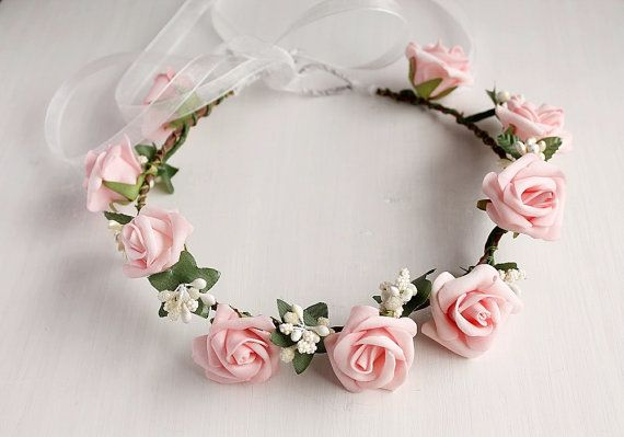 Pink Rose Crown Boho Head Wreath Flower Girl Halo by HandyCraftTS