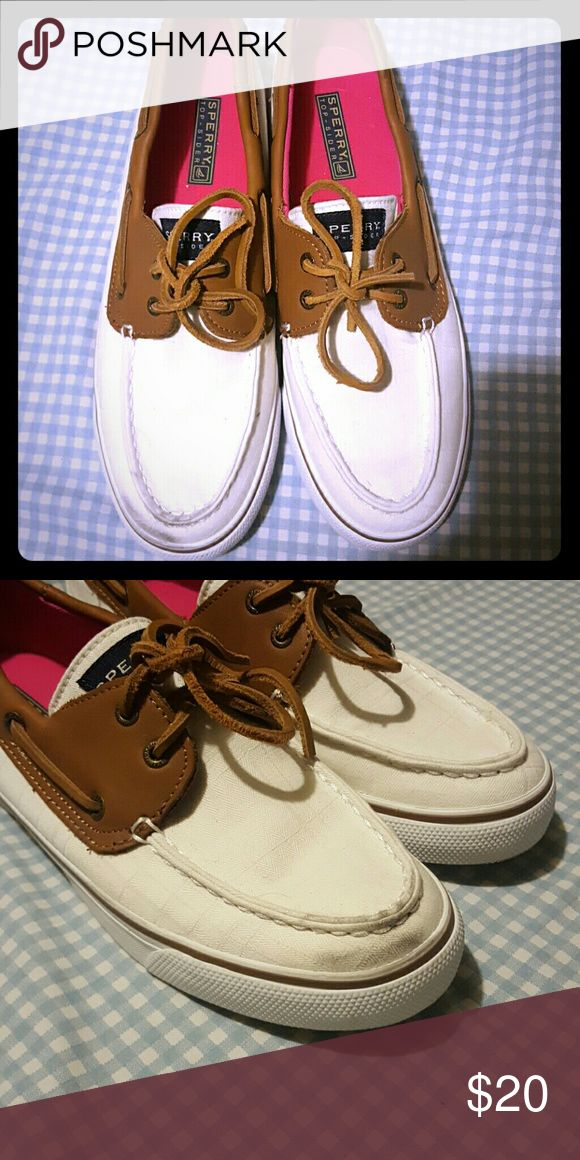 White Sperry's💎 Only wore once. Small dark spot on the toe of them, but barely noticeable! Very casual but can be dressed up 🎀😊  ✨Top Rated Seller ✨ 💨 Fast Shipping Times 💨 💕Quick Responses 💕 ✅ Great Items ✅ 🛍 Awesome Bundle Deals 🛍 😃Thanks For Visiting! 😃 Sperry Top-Sider Shoes
