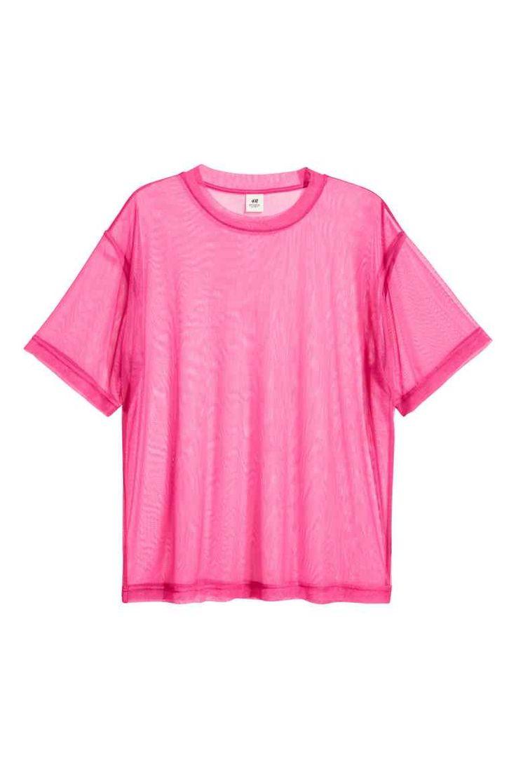 Wijd T-shirt van mesh - Cerise - HEREN | H&M NL 1