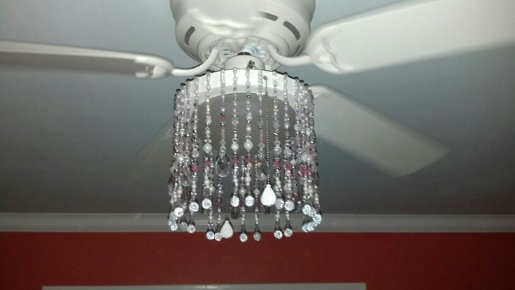 Boring ceiling fan turned into a fancy chandelier for my girl's room ...