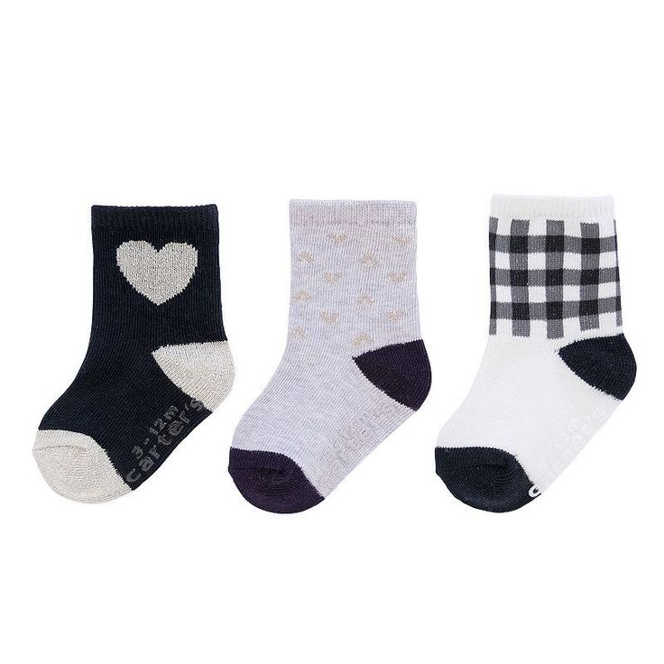 Baby / Toddler Girl Carters 3-pk. Crew Socks, Size: 3-12 Mos, Black