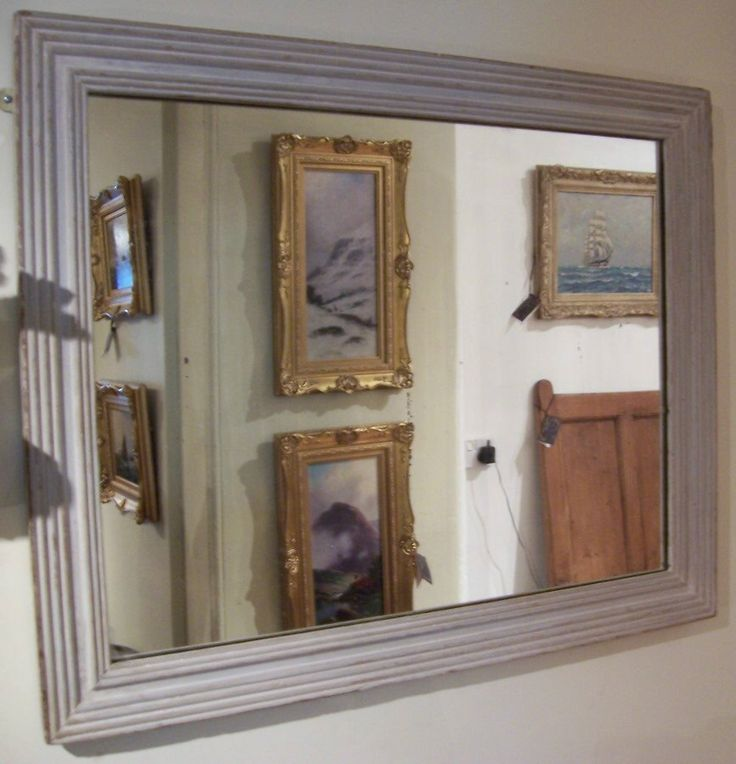 FOR SALE! Late 19th Century French Reeded Frame Mirror in 'distressed' grey finish