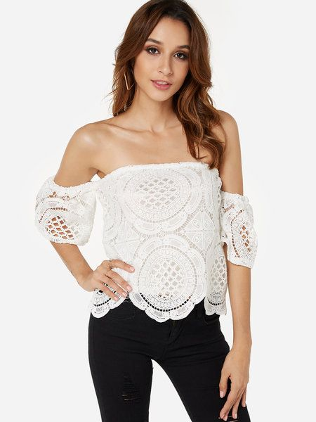 ee7b1726a6f White Lace Off Shoulder With Lining Blouse - US$13.95   What's New ...