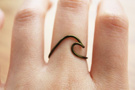 Wave Ring//Green Wave ring olive green ring Ocean by TheHumbleRing
