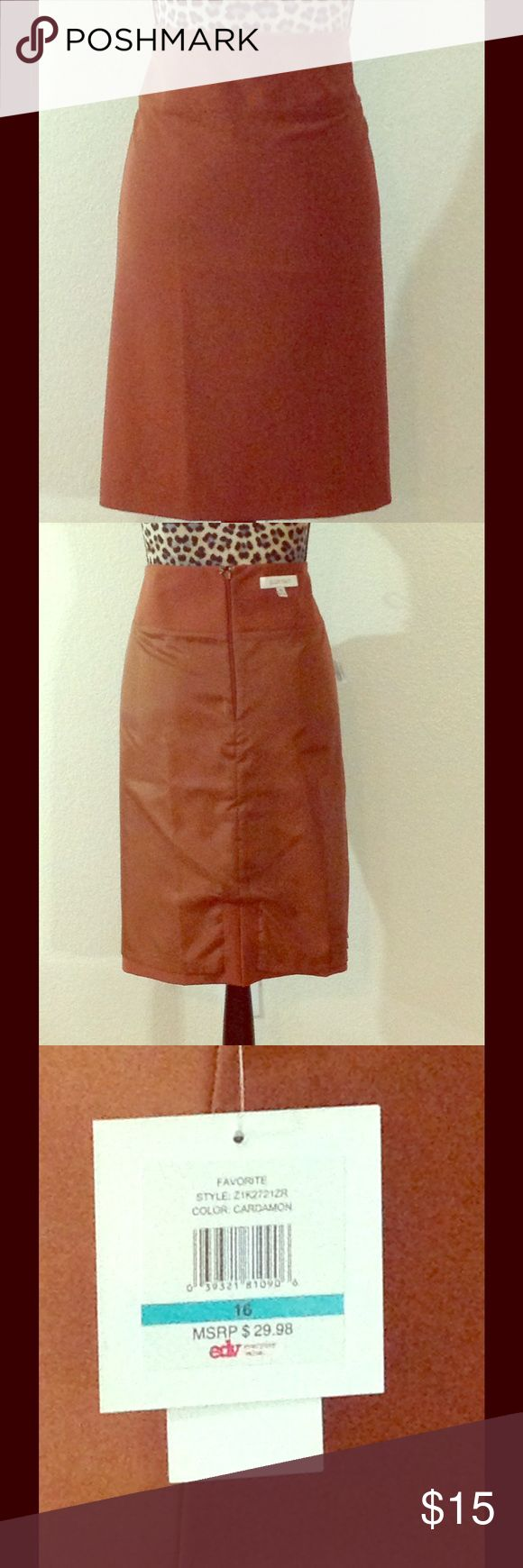 Pencil Skirt Brown Pencil Skirt with Back split, lined, and High Waist Band. Ellen Tracy Ellen Tracy Skirts Pencil