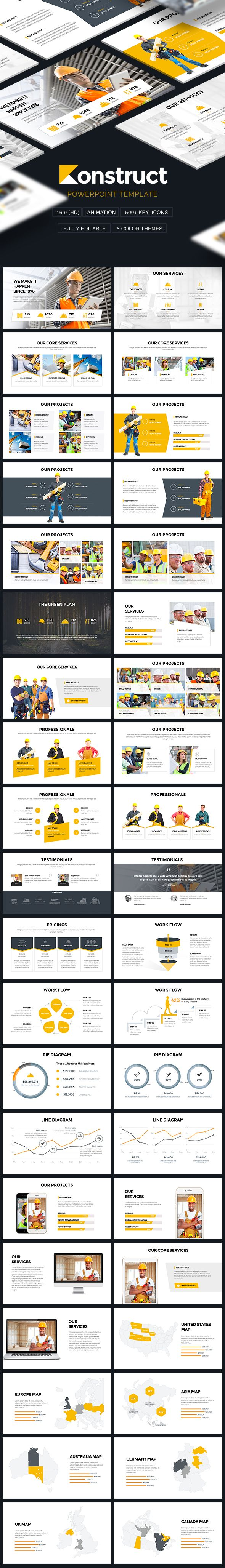 #Konstruct - #Construction #Theme Powerpoint Template - PowerPoint Templates Presentation Templates