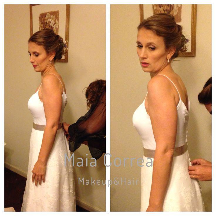 Melina, maquillaje y peinado recogido. #bride #makeup #hair