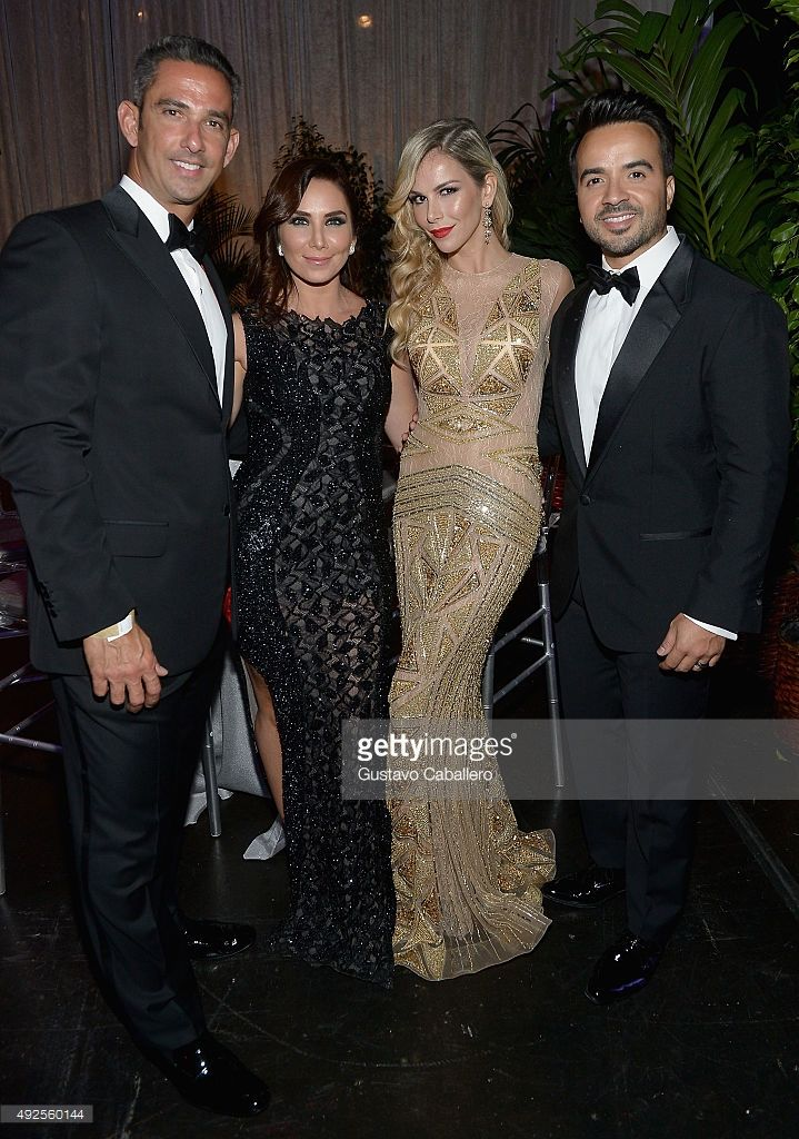 Jorge Posada,Laura Posada,Luis Fonsi and Agueda Lopez attends the I Love Venezuela Foundation Gala at Ice Palace on October 10, 2015 in Miami, Florida.