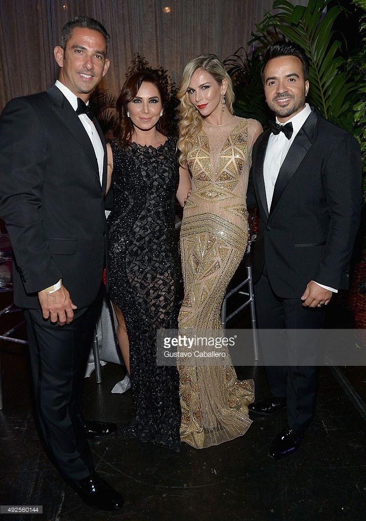Jorge Posada,Laura Posada,Luis Fonsi and Agueda Lopez attends the I Love Venezuela Foundation Gala at Ice Palace on October 10, 2015 in Miami, Florida.