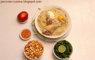 A soup from the coast of Peru, made with chicken and noodles. It has a strong taste and people usually eat it in the morning, specially af...