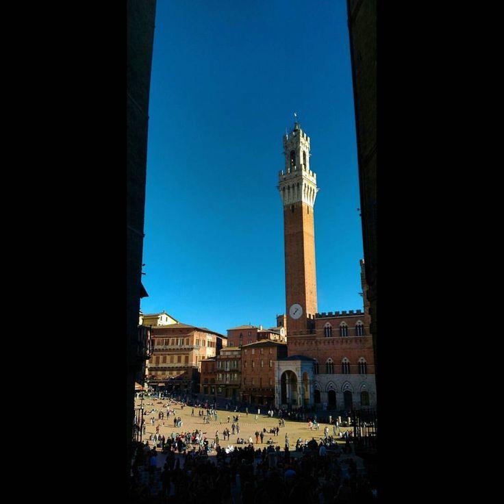 Piazza del campo, Siena. #siena #tuscany #travel #italy #piazzadelcampo #tower #palazzopubblico (presso Siena - Piazza del Campo)