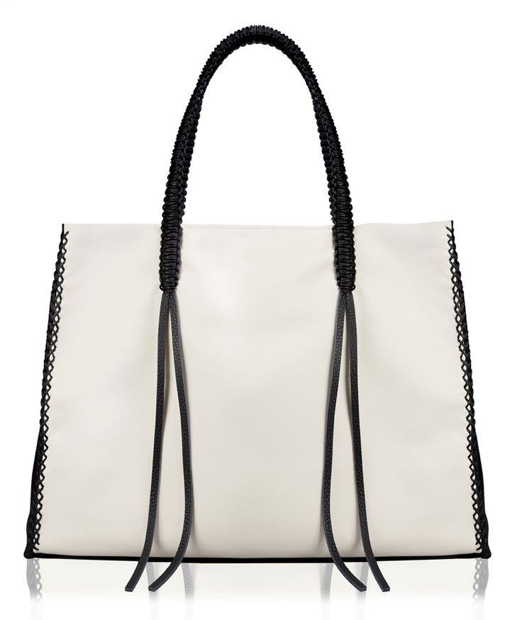 Callista Crafts Ivory and Black Lattice Tote Bag