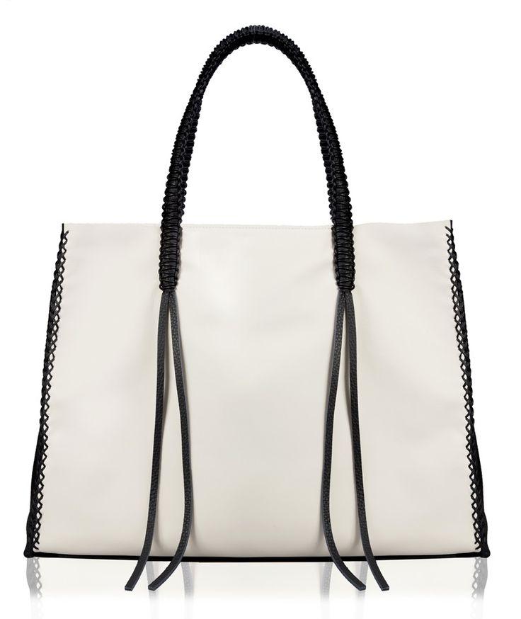 Callista Crafts Ivory and Black Lattice Tote Bag