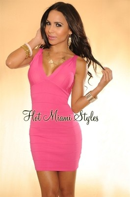 Hot Miami Styles Fuchsia Pink Zipper Back Bandage Mini Club ...