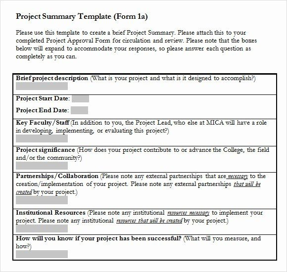 Project Executive Summary Template Word In 2020 Executive