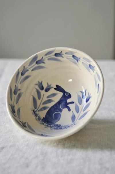 hand decorated blue hare bowl | scandinavian interiors.