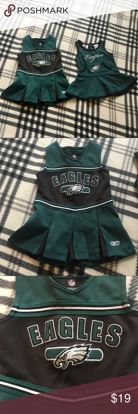 NFL Philadelphia Eagles Cheerleader Dress 12 Month Lot of 2 dresses! Good condition, with minor sings of wear, please see all the pictures, from a pet and smoke free home, no tears or stains NFL Dresses