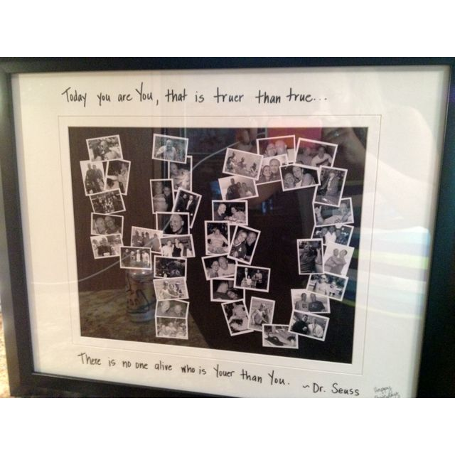 "I used photoshop to create black and white 1"" x 1.5"" photos. I trimmed them leaving a small border of white and then out them in a shape of a 40 for a 40th birthday gift -- great idea for a milestone birthday!"