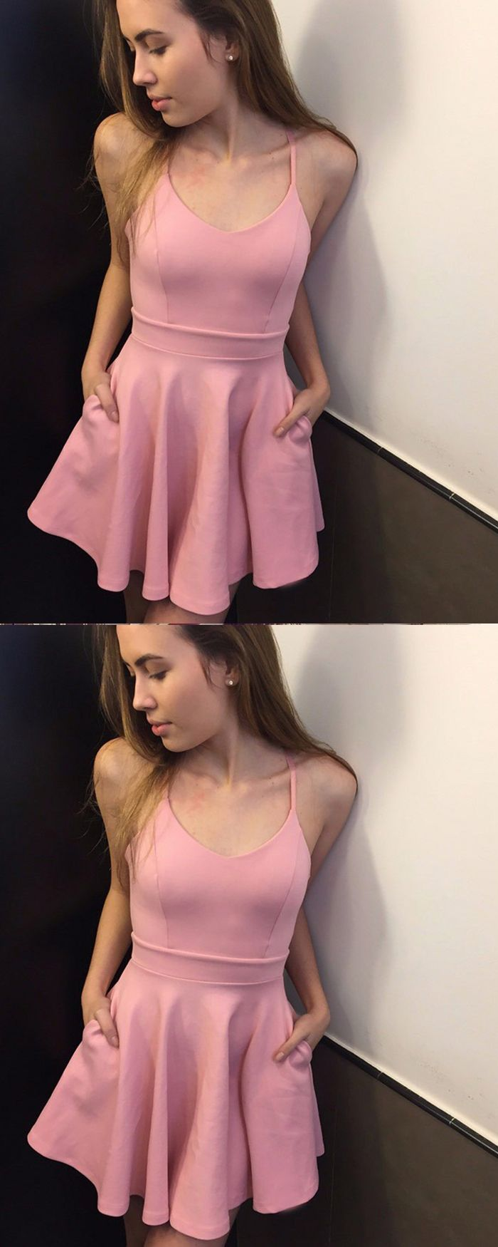Scoop satin pink simple homecoming dress with pockets hd in