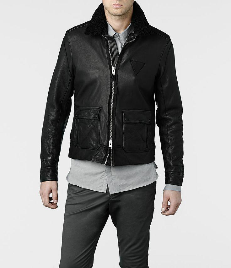 AllSaints Frame Leather Bomber Jacket | Mens Leather Bomber Jackets