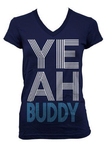 (Cybertela) Yeah Buddy Junior Girls V-neck T-shirt Funny Catchphrase Tee (Navy Blue, Small)