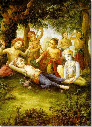 Krishna and the Cowherd Boys praise Balarama, Krishna's brother