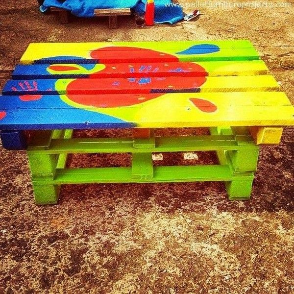 If you want to renovate your lovely kid room and wants something exceptional in his room for decoration as well as for usage than craft this wonderfully painted pallets wood table. This is simple pallets outdoor project that you can easily construct in a day or two. Use the right shades of paints before painting that matches to the theme of your kid's room.