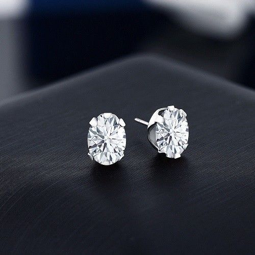 2d2a1fb654a49 Oval Cut Diamond 2.00CT In 14K White Gold Over 6 Prong Stud Earrings ...