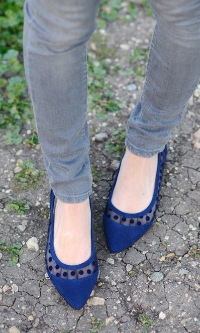 Suede and polka dotted mesh flat with a pointed toe and ultra-easy to slip on