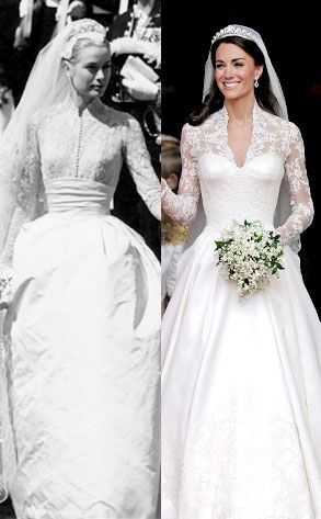 . Grace Kelly & Kate Middleton - Wedding Dresses. Dress Inspiration. I love that Kate wore her hair down, she's so beautiful.
