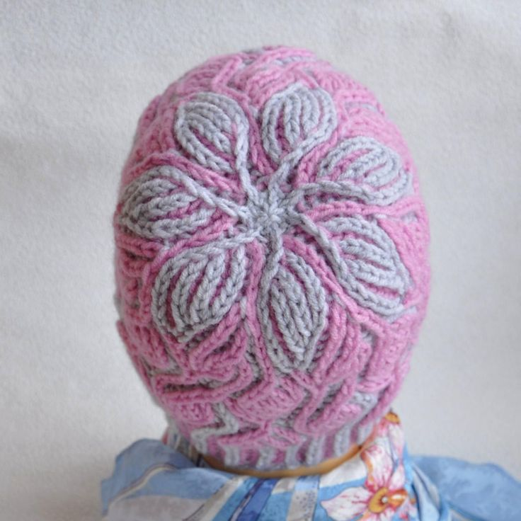 Hat hand knitted. Brioche stitch. 2 color brioche knitting. Yarn Alize Lanagold (wool 49% and acrylic 51%). No seams. One size fits most. Colors: gray, pink. When using this hat: Hand wash (40°C)