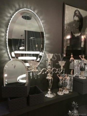 J-Line Wandlicht spiegel met leds en kristal zilver metaal ø65