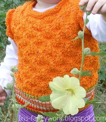 My Fancywork Blog: Детская оранжевая безрукавка с цветной резинкой и ...