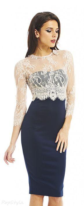AX Paris - Midi Dress with Pretty Lace Overlay on the Bodice & Sleeves - So Feminine