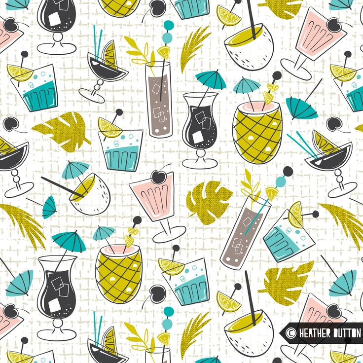 https://flic.kr/p/UzAXRa | Cocktail Hour | Light the tiki torches and put on some vinyl... It's cocktail hour midcentury style :) Here's a peek at my submission for the Spoonflower & Hilton Hawaiian Village Blue Hawaii challenge. Coming soon to my shop.  © Heather Dutton | Hang Tight Studio