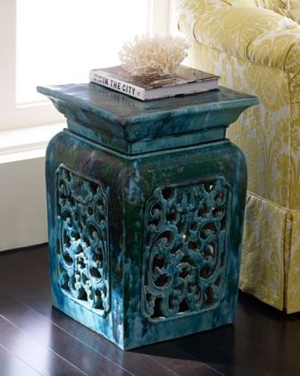 Asian garden stool.- use as decorative side table for my recliner