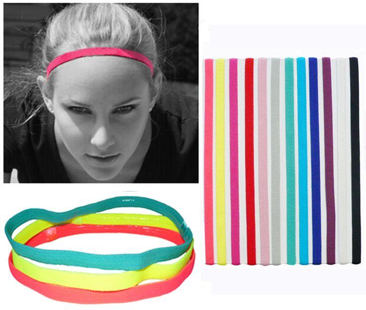 Slim Single Sports Elastic Headband Softball Soccer Yoga Hair Band Rubber Anti-Slip Women Hair Accessories Bandage