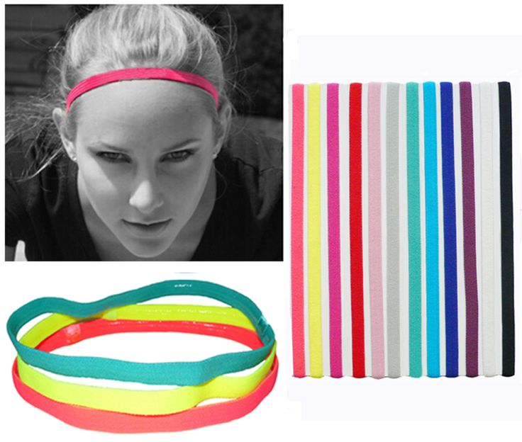Slim Single Sports Elastic Headband Softball Soccer Yoga Hair Band Rubber Anti-Slip Women Hair Accessories Bandage