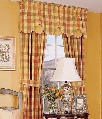 Moire Plaid Lined Layered Button Valance Window Treatments Pinter