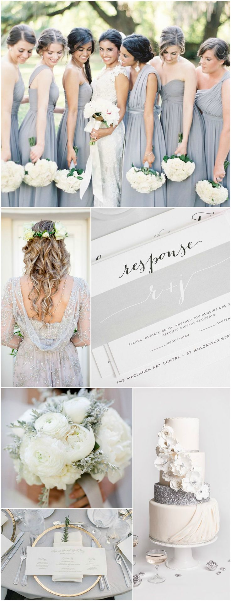Silver Wedding Inspiration | Gray Wedding Inspiration | Glitter Wedding Cake | Calligraphy Wedding Invitations