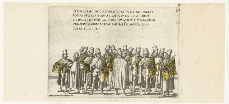 Joannes van Doetechum (I)   Groep muzikanten, nr. 2, Joannes van Doetechum (I), Lucas van Doetechum, Hieronymus Cock, 1559   Groep muzikanten met trompetten met vaandels en twee trommelaars. Onderdeel van de prentreeks van de Begrafenisoptocht van keizer Karel V op 29 december 1558 te Brussel.
