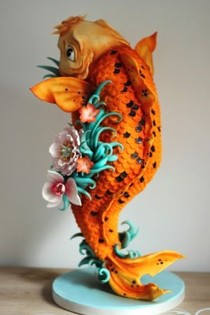 Koi Carp Colourful Standing 3D Cake