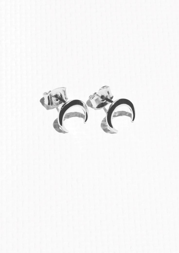 & Other Stories Crescent Moon Studs in Silver